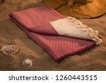 handwoven hammam turkish cotton ... | Shutterstock . vector #1260443515