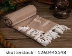 handwoven hammam turkish cotton ... | Shutterstock . vector #1260443548
