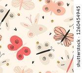 seamless nursery pattern with... | Shutterstock .eps vector #1260454945
