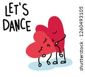 Cartoon Hearts Dance And Kiss...