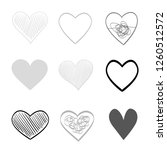 hand drawn hearts on isolated... | Shutterstock .eps vector #1260512572