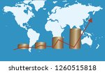 stacked coins   arrow shows... | Shutterstock .eps vector #1260515818
