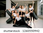 attractive young sport girls... | Shutterstock . vector #1260550942