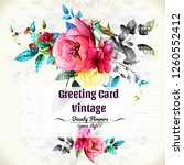 greeting card with flowers... | Shutterstock .eps vector #1260552412