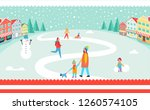 snowy winter park poster with... | Shutterstock . vector #1260574105