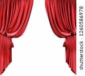 red velvet curtains isolated on ... | Shutterstock . vector #1260586978