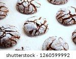 fresh baked chocolate crinkle... | Shutterstock . vector #1260599992