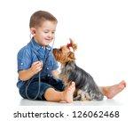 Stock photo boy child examining dog puppy isolated on white background 126062468
