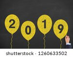 happy new year 2019 with... | Shutterstock . vector #1260633502