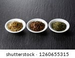 Three Type Of Dried Tea Leaves...