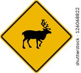 traffic sign wildlife deer | Shutterstock .eps vector #126068822