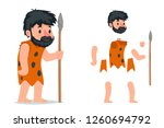 ancient caveman with stone... | Shutterstock .eps vector #1260694792