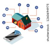 isometric smart house control... | Shutterstock .eps vector #1260694975