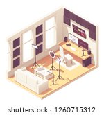 video blogger or vlogger home... | Shutterstock .eps vector #1260715312
