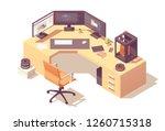 3d modeling artist office or...   Shutterstock .eps vector #1260715318