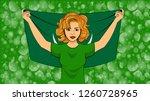 blonde girl holding a national... | Shutterstock .eps vector #1260728965