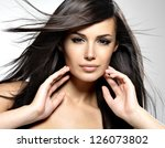 beautiful woman with long brown ... | Shutterstock . vector #126073802