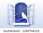 cardinal in paper cut style.... | Shutterstock .eps vector #1260746212