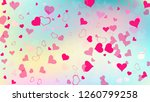 red hearts of confetti are...   Shutterstock .eps vector #1260799258