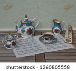 english teacup with saucer ... | Shutterstock . vector #1260805558