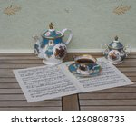 english teacup with saucer ... | Shutterstock . vector #1260808735