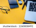 computer pen watch notepad...   Shutterstock . vector #1260838492