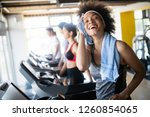 group of healthy fit people at... | Shutterstock . vector #1260854065
