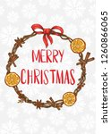 merry christmas. card with a... | Shutterstock .eps vector #1260866065