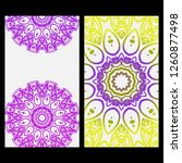relax cards with mandala formed ... | Shutterstock .eps vector #1260877498