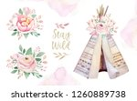 watercolor colorful ethnic set... | Shutterstock . vector #1260889738