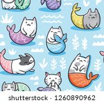 Stock vector the cats mermaid under water seamless childish pattern for apparel fabric textile 1260890962