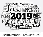 2019 year greeting word cloud... | Shutterstock .eps vector #1260896275