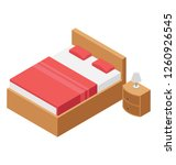 hotel bed isometric  icon | Shutterstock .eps vector #1260926545