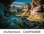 Natural Sandstone Rock Formations. Brimham Rocks. Rock Canyon