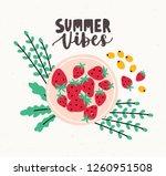 ripe fresh strawberries lying... | Shutterstock .eps vector #1260951508