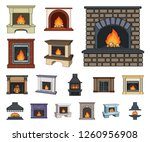 different kinds of fireplaces... | Shutterstock .eps vector #1260956908