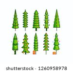 christmas tree vector icons.... | Shutterstock .eps vector #1260958978