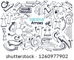 set of doodle hand drawn arrows ... | Shutterstock .eps vector #1260977902