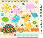 Cute Turtle And Birds Scrapbook ...