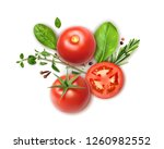 fresh tomatoes whole and slices ... | Shutterstock .eps vector #1260982552