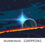 2d illustration. cartoon space... | Shutterstock . vector #1260992362