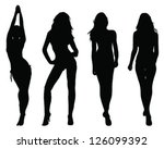 Silhouettes of beautiful girls 2- vector