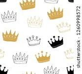 crown seamless pattern  hand... | Shutterstock .eps vector #1260998572