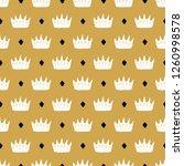 crown seamless pattern  hand... | Shutterstock .eps vector #1260998578