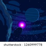 2d illustration. cartoon cosmos ... | Shutterstock . vector #1260999778