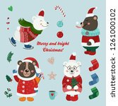 christmas set with isolated...   Shutterstock .eps vector #1261000102