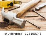 carpenter tools  hummer  tape... | Shutterstock . vector #126100148