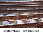 the rails turn  the rails and...   Shutterstock . vector #1261007965