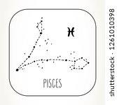 pisces hand drawn zodiac sign... | Shutterstock .eps vector #1261010398