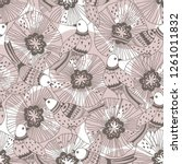 seamless pattern with birds and ... | Shutterstock .eps vector #1261011832